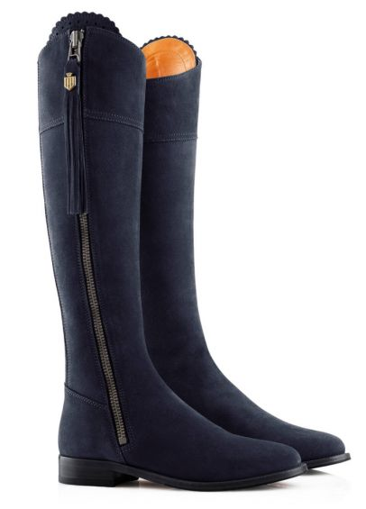 Fairfax & Favor Ladies Narrow Fit Suede Regina Boots - Navy