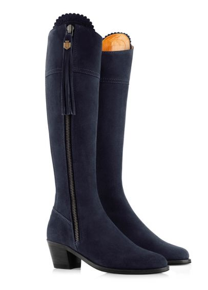 Fairfax & Favor Ladies Narrow Fit Suede Heeled Regina Boots - Navy