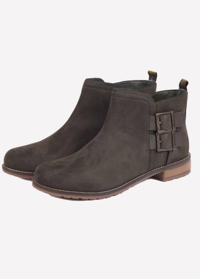 Barbour Ladies Sarah Low Buckle Boots - Charcoal