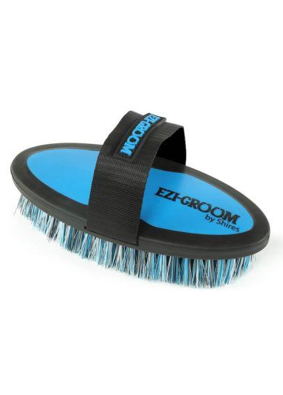 Shires EZI-GROOM Grip Body Brush - Bright Blue