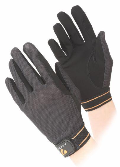 Shires Aubrion Childs Mesh Riding Gloves - Black