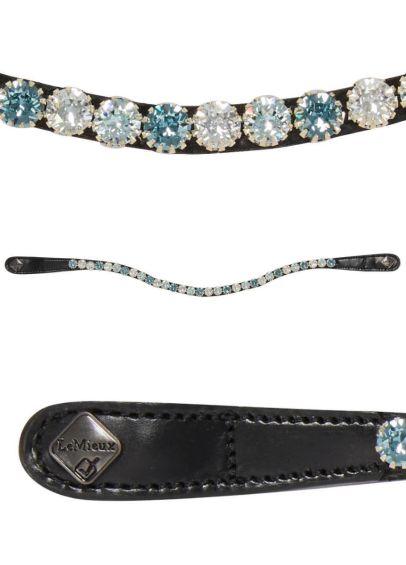 LeMieux Spectrum Diamante Leather Browband - Black/Petrol