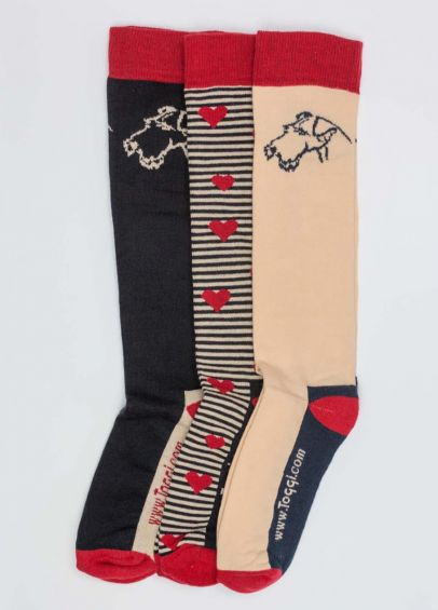 Toggi Terrier Socks - Red/Black/Pink
