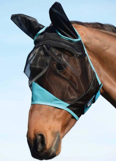 Weatherbeeta ComFiTec Fine Mesh Fly Mask with Ears - Black/Turquoise